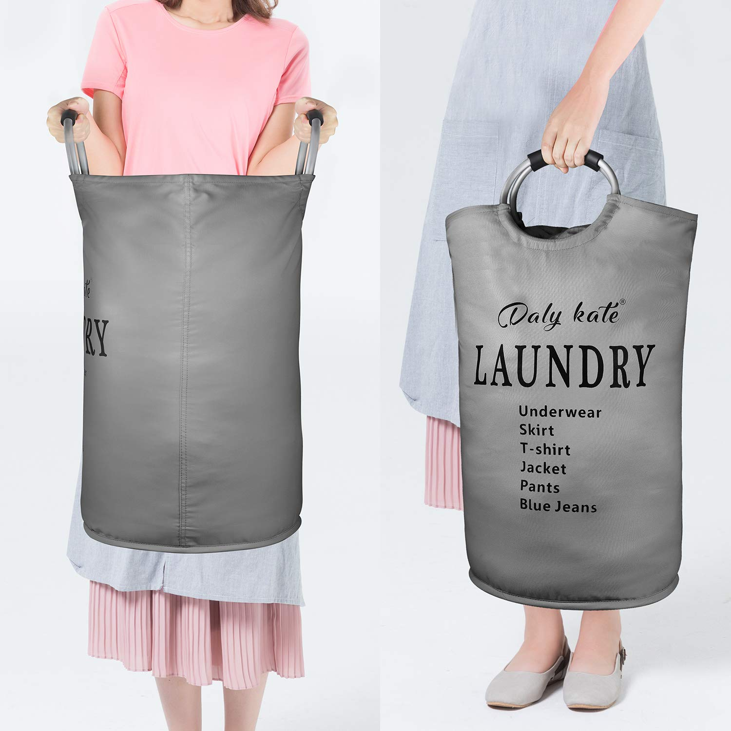 Daly Kate Large Laundry Bag Collapsible Oxford Fabric Laundry Hamper Bag with Aluminium Handles Foldable Tote Clothes Basket for Laundry and Storage-Grey