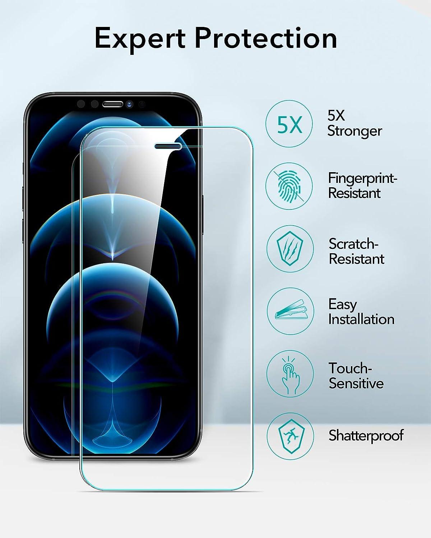 ESR Panzerglas Displayschutzfolie Kompatibel mit iPhone 12 Panzerglas//iPhone 12 Pro Panzerglas 3-St/ück H/üllenfreundlich Praktischer Montagerahmen