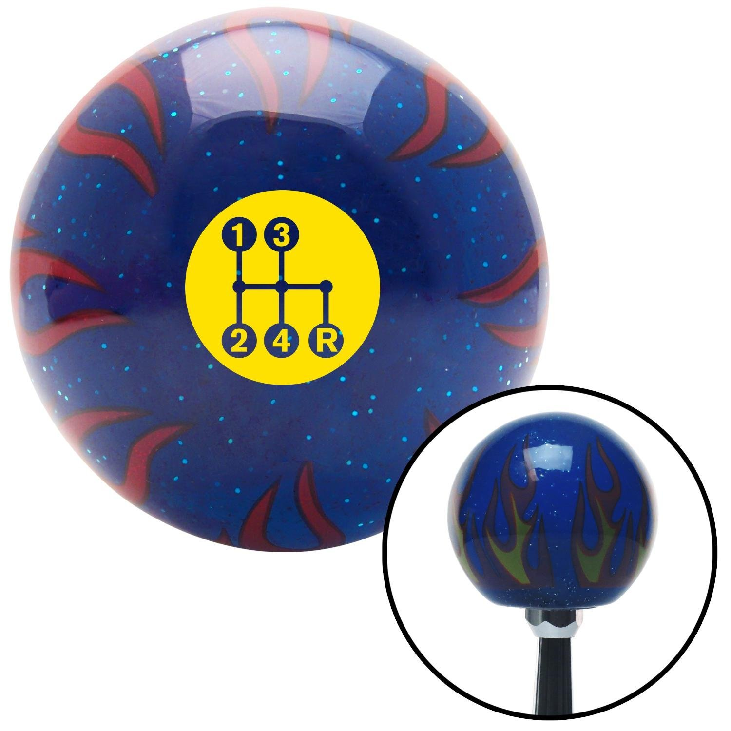 Yellow 4 Speed Shift Pattern - Dots 6 Blue Flame Metal Flake American Shifter 298351 Shift Knob