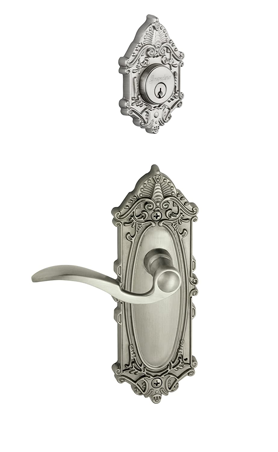 Grandeur Grande Victorian Plate with Bellagio Lever and Matching Deadbolt Complete Single Cylinder Combo Pack Set Satin Nickel