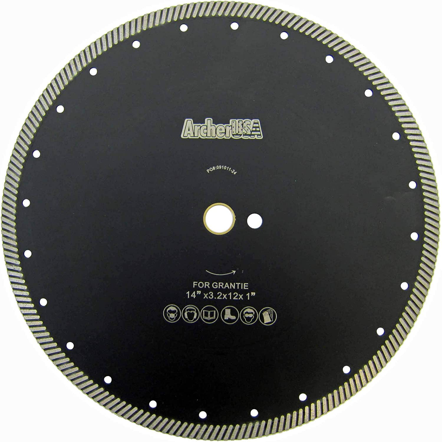 9 sizes from 4 inch to 14 in. Archer PRO 5 Narrow Turbo Rim Diamond Blades for Cutting Granite Stone Masonry Counter-top slabs