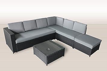 Amazonde Xxl Polyrattan Lounge 235x221 Cm Garten Möbel In Schwarz