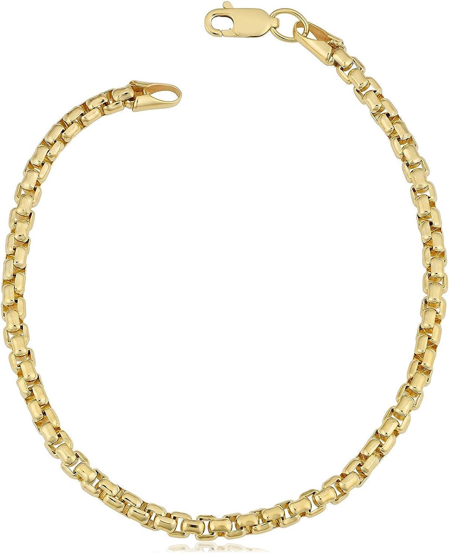 "14K Yellow Gold Filled Round Box Chain Bracelet, 3.4mm, 8.5"""