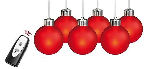 Beleuchtete Christbaumkugeln.6 Beleuchtete Weihnachtskugeln Led Fernbedienung Echtglas