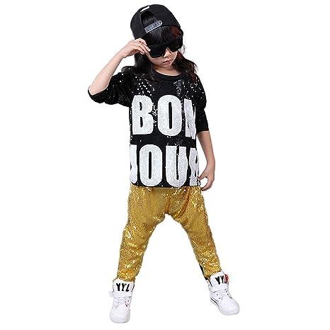 buy popular b2a21 0aadf Girls Boys Paillettes Hip Hop Danza Costumi da Ballo Moderno Jazz  Abbigliamento Top Pantaloni