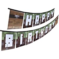 Pixel Mine Crafter Style Happy Birthday Banner - PRE-Assembled! Fun Party Banner for Indoor or Outdoor Use, Birthday Banner Made from Recycled Materials