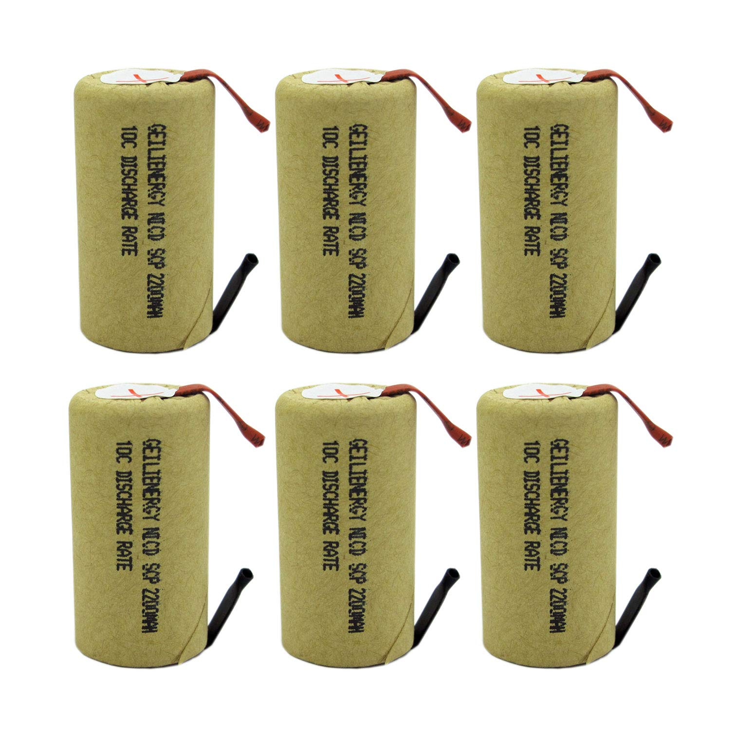 GEILIENERGY 2200mAh Sub C NiCd Battery 10C Discharge Ratefor Power Tools, 1.2V Flat Top Rechargeable Sub-C Cell Batteries with Tabs(Pack of 6) by GEILIENERGY