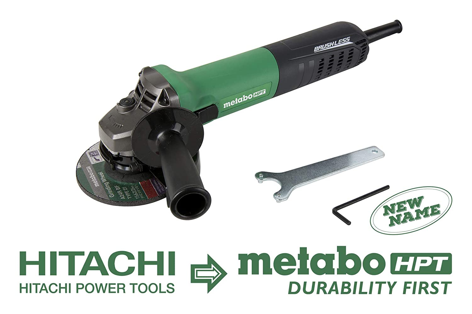 Metabo HPT G12VE AC Brushless 4-1 2 Angle Grinder, Variable Speed, 12-Amp Motor, 2, 800-10, 000 Rpm, 1, 300W, Slide Switch W Trigger Lock-On, Electronic Overload Protection, 1-Year Warranty