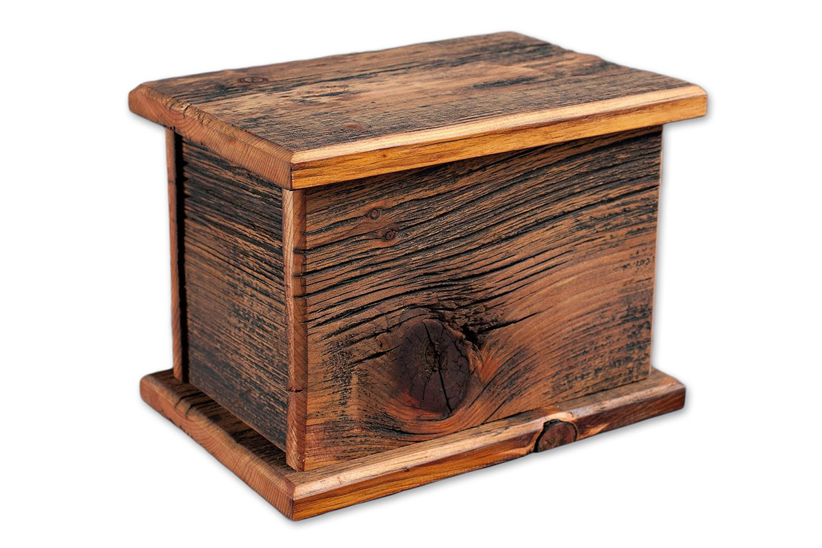 Barnwood Funeral Urn in Pine - Handcrafted in Wisconsin, USA From Vintage Barn Wood - Cremation Urn For Human Ashes & Cremated Remains - Burial Urn - Decorative Urn - Wood Urn