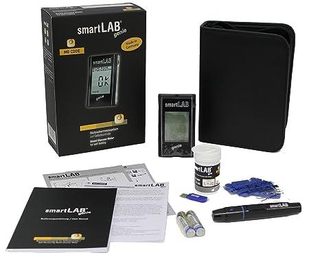 smartLAB genie Sistema de Monitoreo de Glucosa en Sangre como Juego de Arrancadores | Medidor de glucosa en sangre para la diabetes | Mediciones precisas de ...