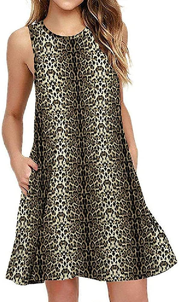 2020 Sleeveless Leopard Print Pocket Vest Ladies Dress