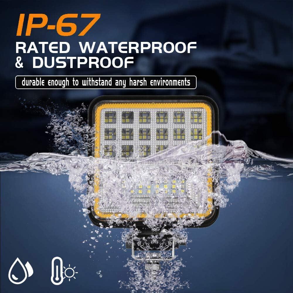 Led Round Light 4.5 LED Flood Work Lights Fog Lamp for Truck Boat SUV Car-2Pcs