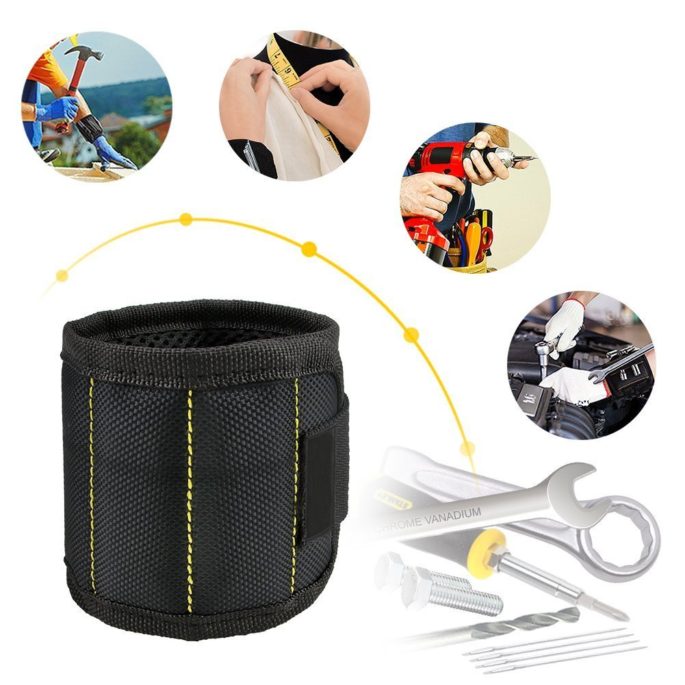 Magnetic Wristband, Toyoo Magnetic Wristband with 10 Strong Magnets for Holding Tools, Screws, Nails, Bolts, Drill Bits, Screwdriver (Black) by ToYoo (Image #6)