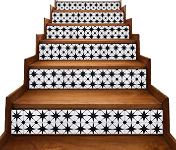 Peel And Stick Stair Riser Decals Encaustic Cement Tiles Look