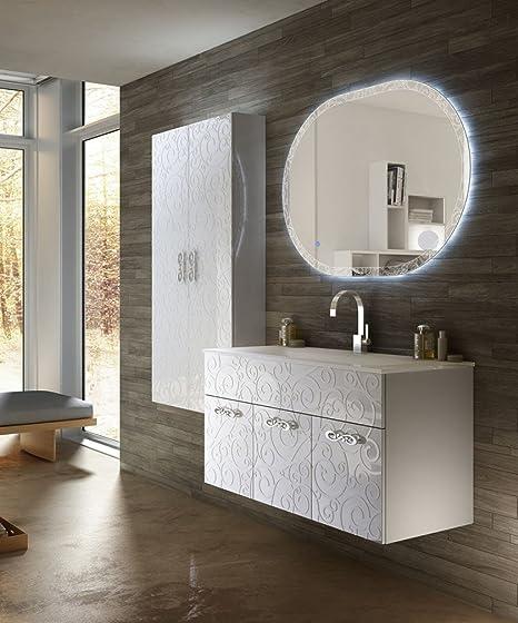 Mobile bagno sospeso moderno Floreale Miami bianco, cm 100, solo ...