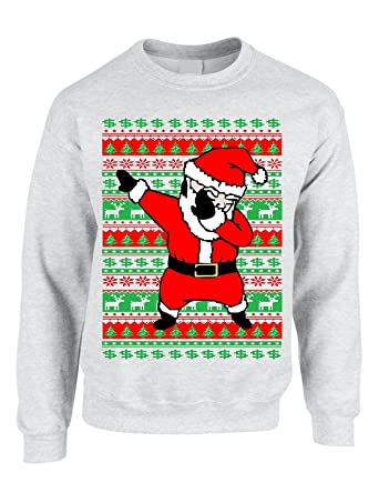 allntrends adult crewneck dabbing santa ugly christmas sweater s ash