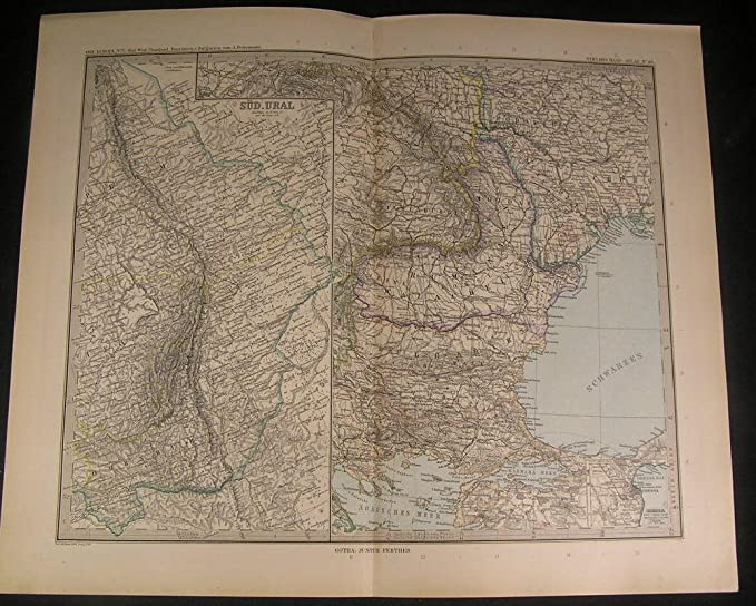 Southwest Russia Romania Bulgaria Ural Mountains 1899 ...