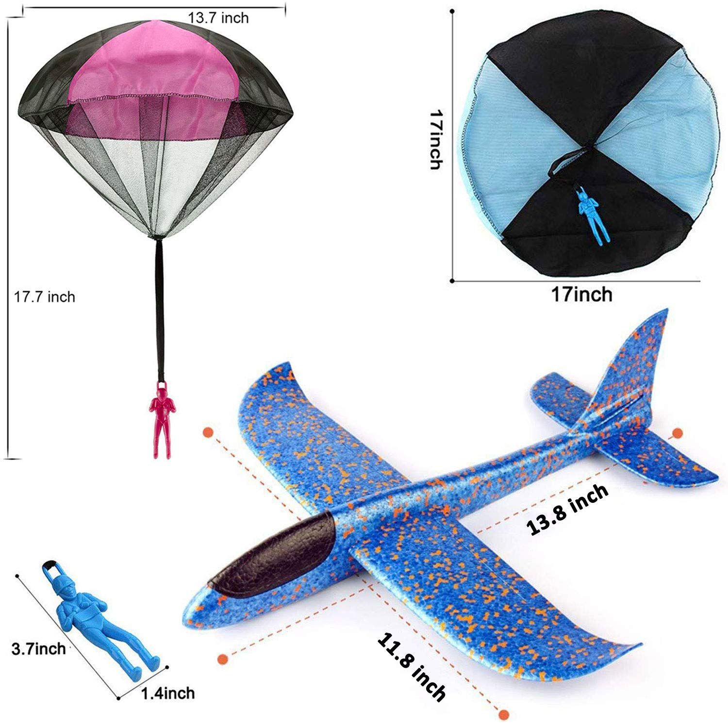 7 Pack Toy Airplane Glider for Kids, 2P 13.5'' Inch Throwing Foam Plane Kit Aircraft Jet+5P Toy Parachute Tangle Free Throwing, Outdoor Sports Flying Toys for Boys Girls Toddlers Teens Birthday Gift by iGeeKid (Image #4)