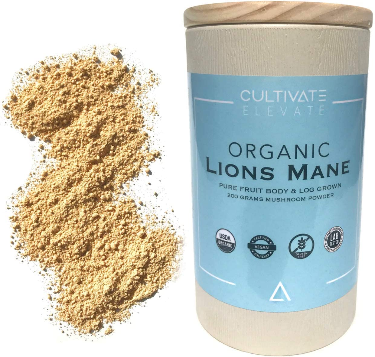 USDA Organic Lion s Mane Mushroom Powder – 3 Month Supply 100 Servings Log Grown 100 Fruit Body, Vegan, Memory, Focus, Cognition, Mental Clarity, Nerve Health, 200g