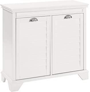 Crosley Furniture Lydia Two Compartment Linen Hamper   White