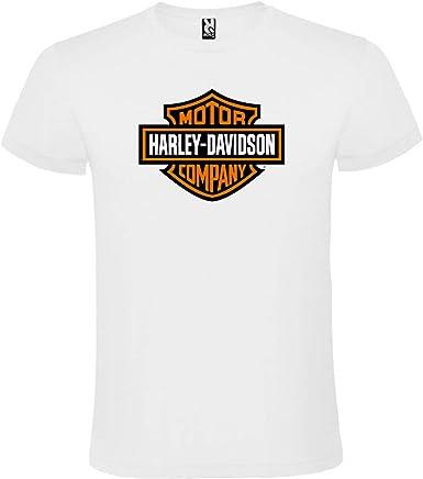 ROLY Camiseta Blanca con Logotipo de Harley Davidson Hombre 100% Algodón Tallas S M L XL XXL Mangas Cortas: Amazon.es: Ropa y accesorios