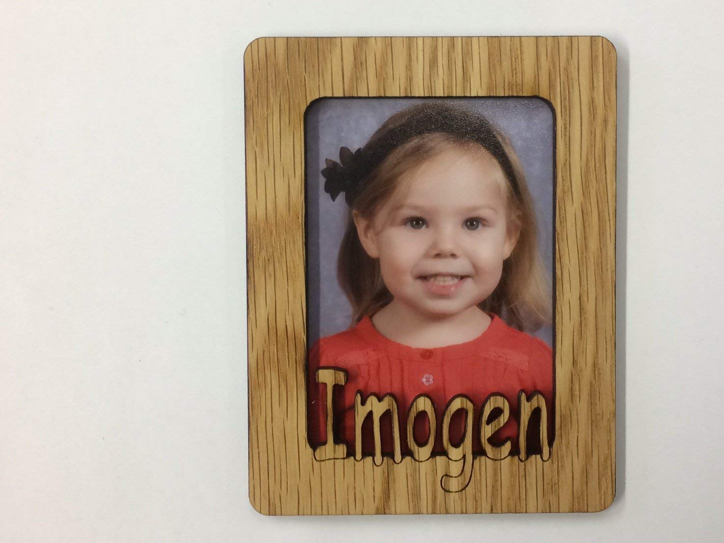 Personalized Wood Name Picture Frame Refrigerator Magnet - Holds Wallet Sized Photo