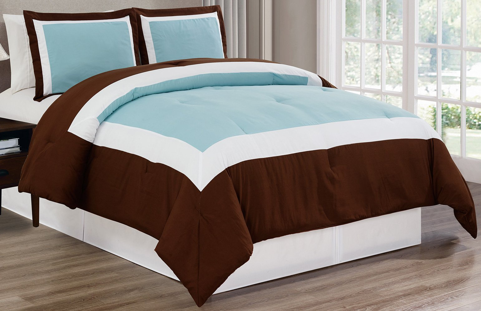 3 piece light blue brown white goose down alternative color block comforter set