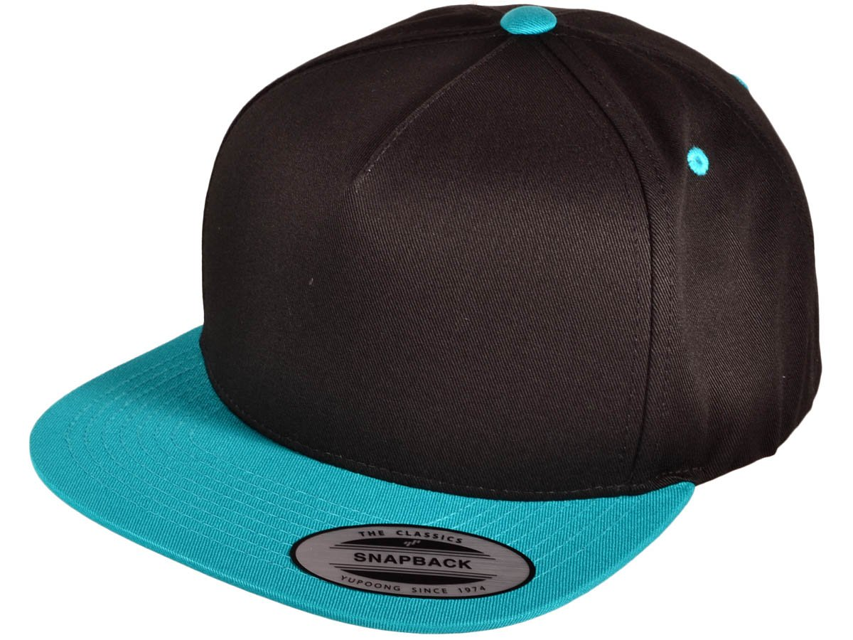 HT REI-6007-BKTE Wholesale 5 Panel Cotton Flexfit Yupoong Flat Bill Blank  Snapback Hats w  Green Underbill (Black Teal) hat cap 4jh0om019 head hair  summer ... 7c3808c8be8