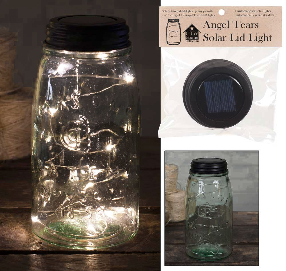 Angel Tears Solar Light Mason Jar Lid by Colonial Tin Works