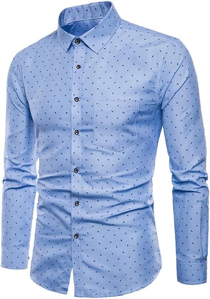 Fashion Mens Summer Print Shirts Slim Fit Cotton Formal Work Short Sleeve Dress Shirt Tops