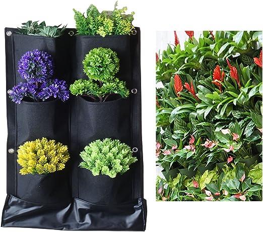 6 bolsillos no tejido telas plantas flores maceta para colgar bolsas parte inferior impermeable vertical jardín decoración pared macetas negro: Amazon.es: Jardín