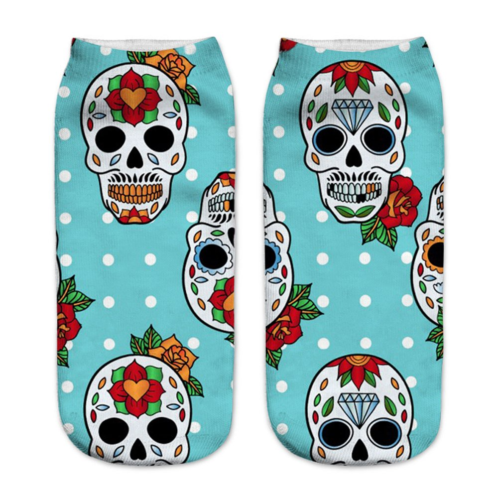 Women's 3D Cartoon Print Funny Smiley Casual Crazy Novelty Ankle Socks Value Pack (skull 1) by Footalk (Image #7)