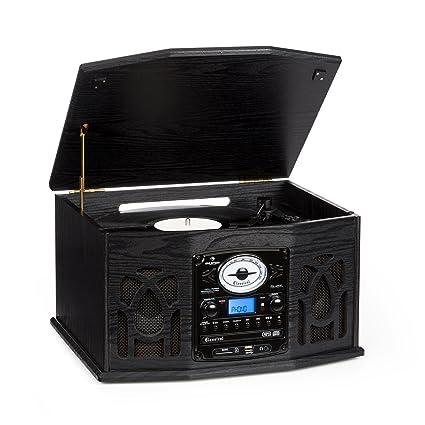 Auna NR-620 Tocadiscos - Reproductor vinilos y CD , Altavoces estéreo , Accionamiento por Correa , 3 velocidades , Máx. 45 RPM , Radio , Receptor ...