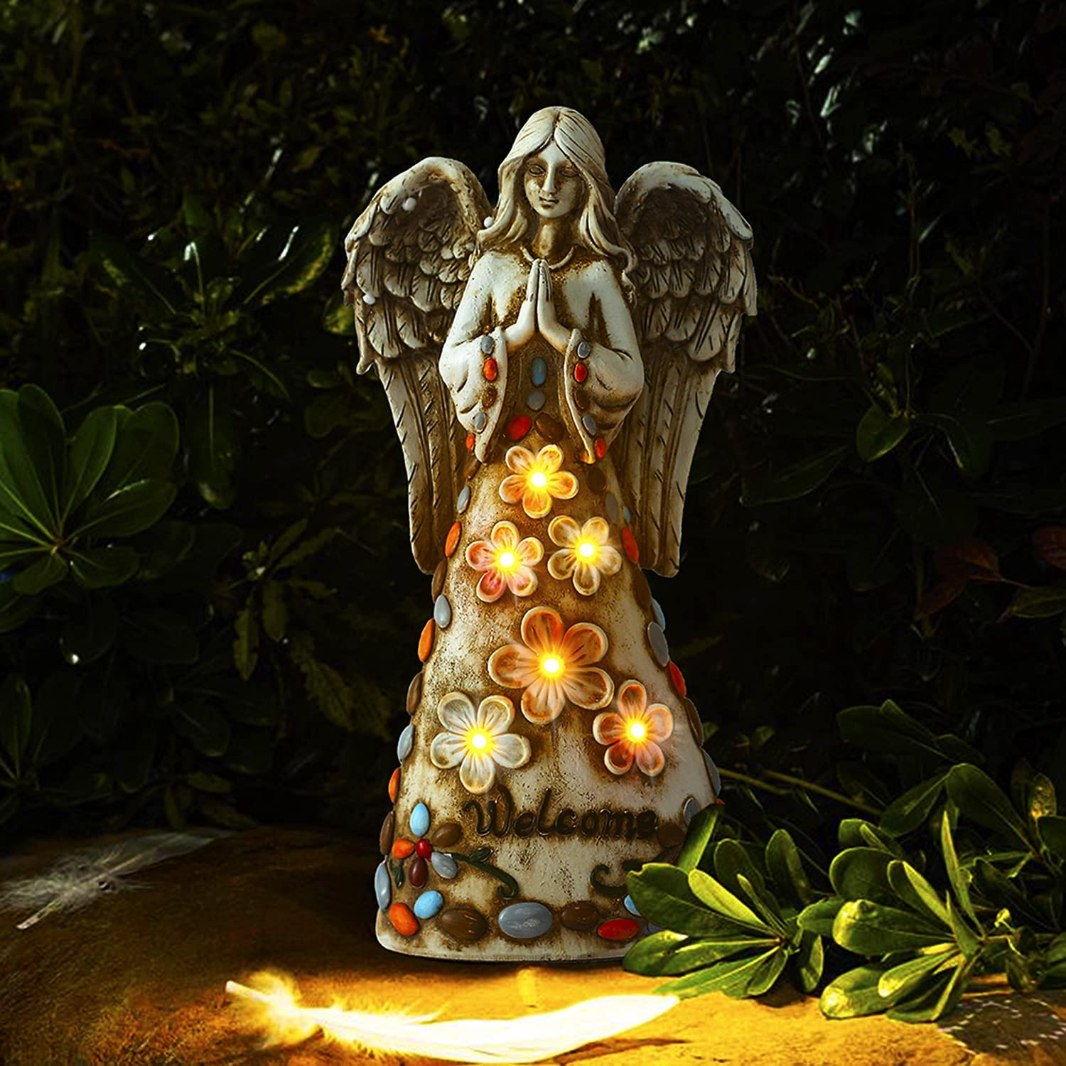 Angel Garden Statue Outdoor Decor - Solar Figurine Lights Yard Art Angel Solar Stake Lights with 6 Warm LEDs for Patio, Lawn, Yard, Porch Decoration, Memorial Gifts (Warm)