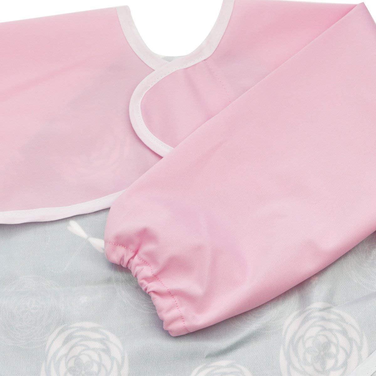 Moyhza Long Sleeved Baby Bib Waterproof Toddler Bib with Pocket,6-24 Months