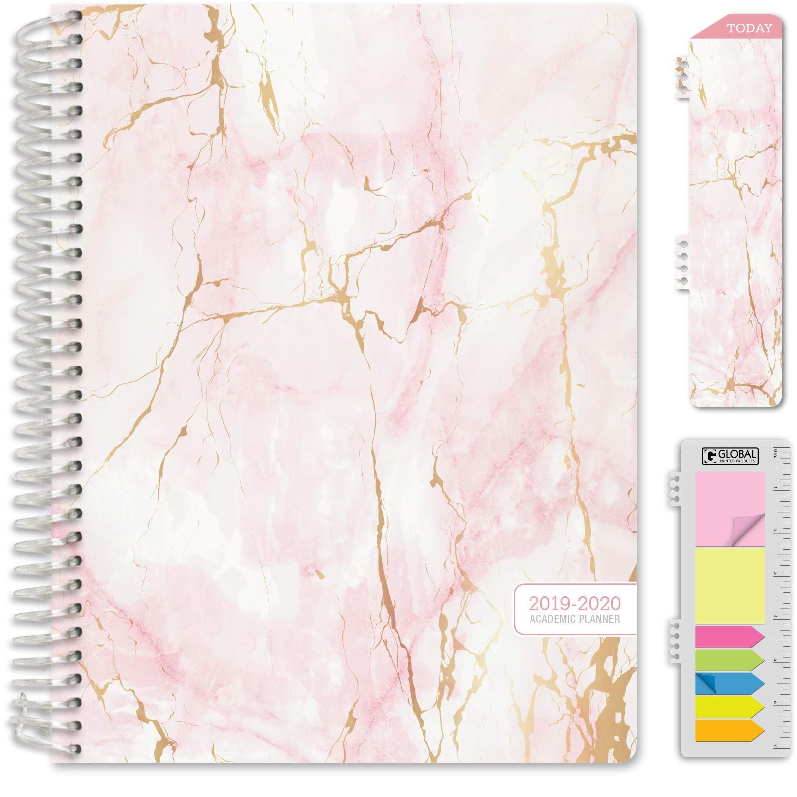 HARDCOVER Academic Year 2019-2020 Planner: (June 2019 Through July 2020) 8.5''x11'' Daily Weekly Monthly Planner Yearly Agenda. Bonus Bookmark, Pocket Folder and Sticky Note Set (Pink Marble)