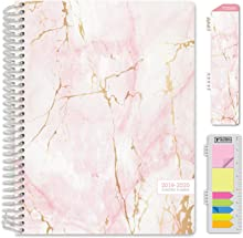 """HARDCOVER Academic Planner 2019-2020: (July 2019 Through July 2020) 8.5""""x11"""" Daily Weekly Monthly Planner Yearly Agenda. Bonus Bookmark, Pocket Folder and Sticky Note Set (Pink Marble)"""