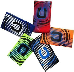 MHOYI Brazalete de capitán de fútbol, banda de capitán de fútbol juvenil elástica para niños y adultos, paquete de 5 colores, velcro para tamaño ajustable,: Amazon.es: Deportes y aire libre