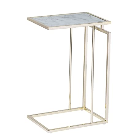 Holly Martin – Accent Table Also Used for Bedside Table, End Table, TV Tray, Laptop Table, Couch Desk Gold w White Marble