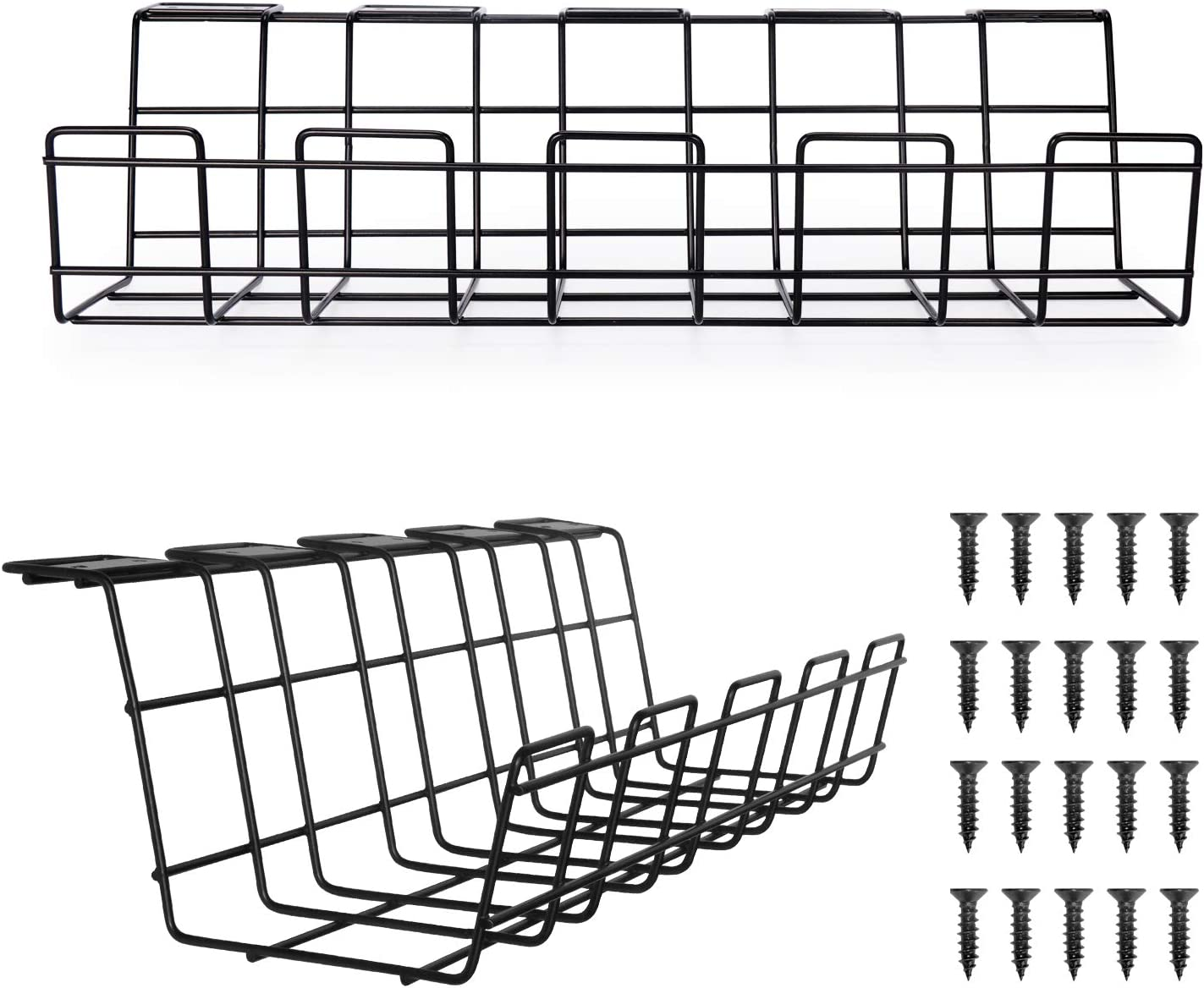Comix Under Desk Wire Tray Cable-Organizer - 2 Pack Wire and Cable Shelf Desktop Organizer – Wire Storage for Cable Management Tool for Office (Black)