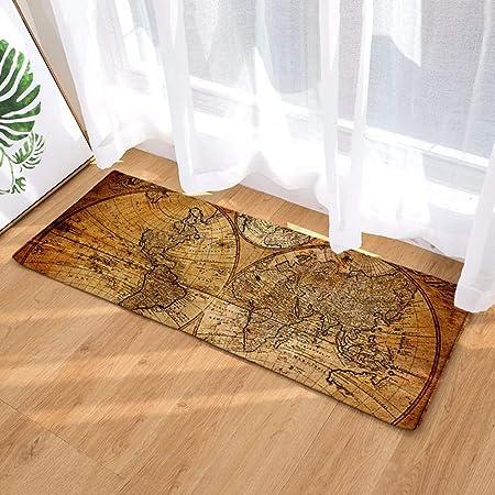 Morbuy Tapis de Porte Lavable Carte du Monde Interieur Anti Slip Chambre à  Coucher Salon Tapis d\'Entrée Absorbant Antidérapant (40 * 120cm, Latitude  ...