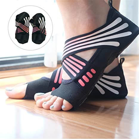 Lacyie Calcetines de yoga antideslizantes para mujer, algodón con media punta, agarre antideslizante,