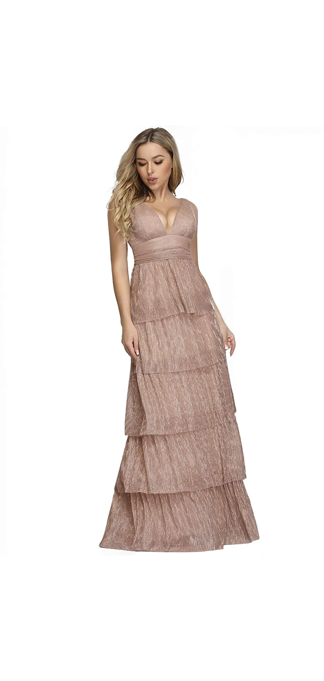 Women's Double V-neck Tiered Ruffle Evening Party