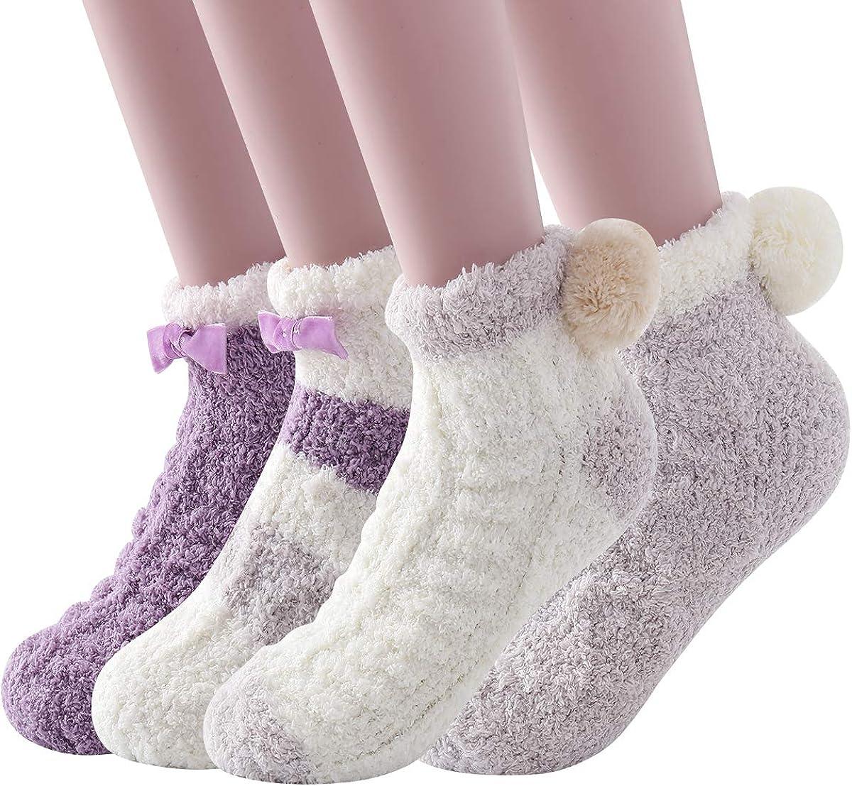 Skola Super Soft Cozy Winter Warm Slipper Socks Womens Anti Slip Grip Fuzzy Pom Pom Socks 4 Pairs
