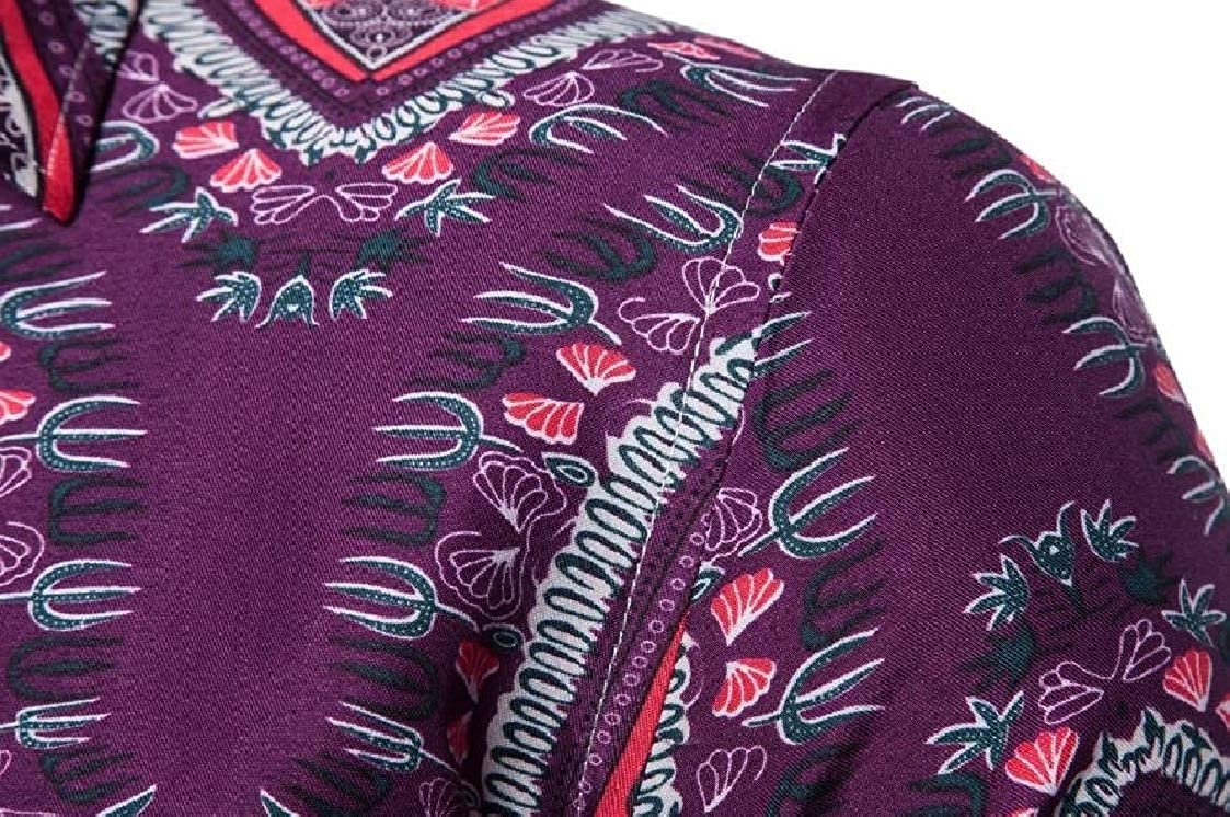 Nanquan Men Casual Button Up Print Short Sleeve Slim Fit Ethnic Shirts