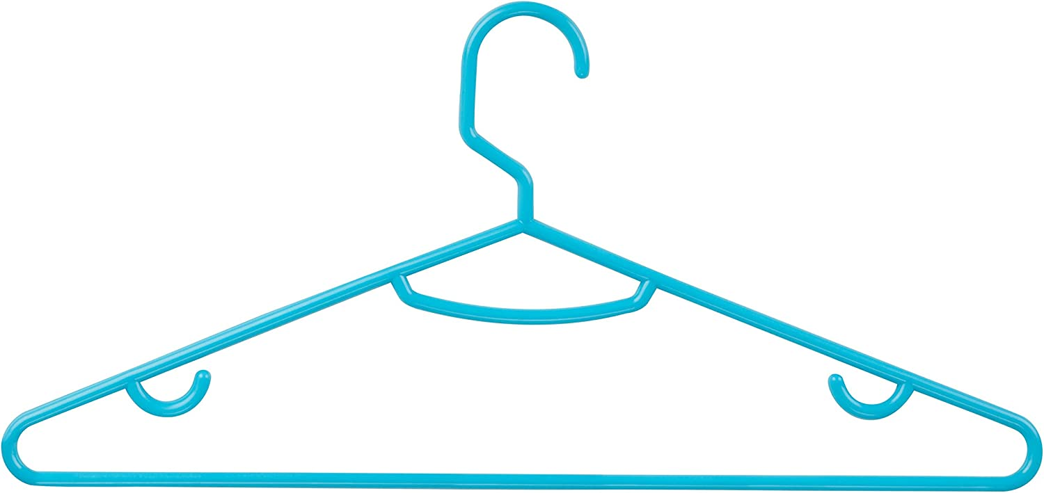Honey-Can-Do HNG-03588 Plastic Tubular Hangers with Hanging Hooks 15-Pack Aqua
