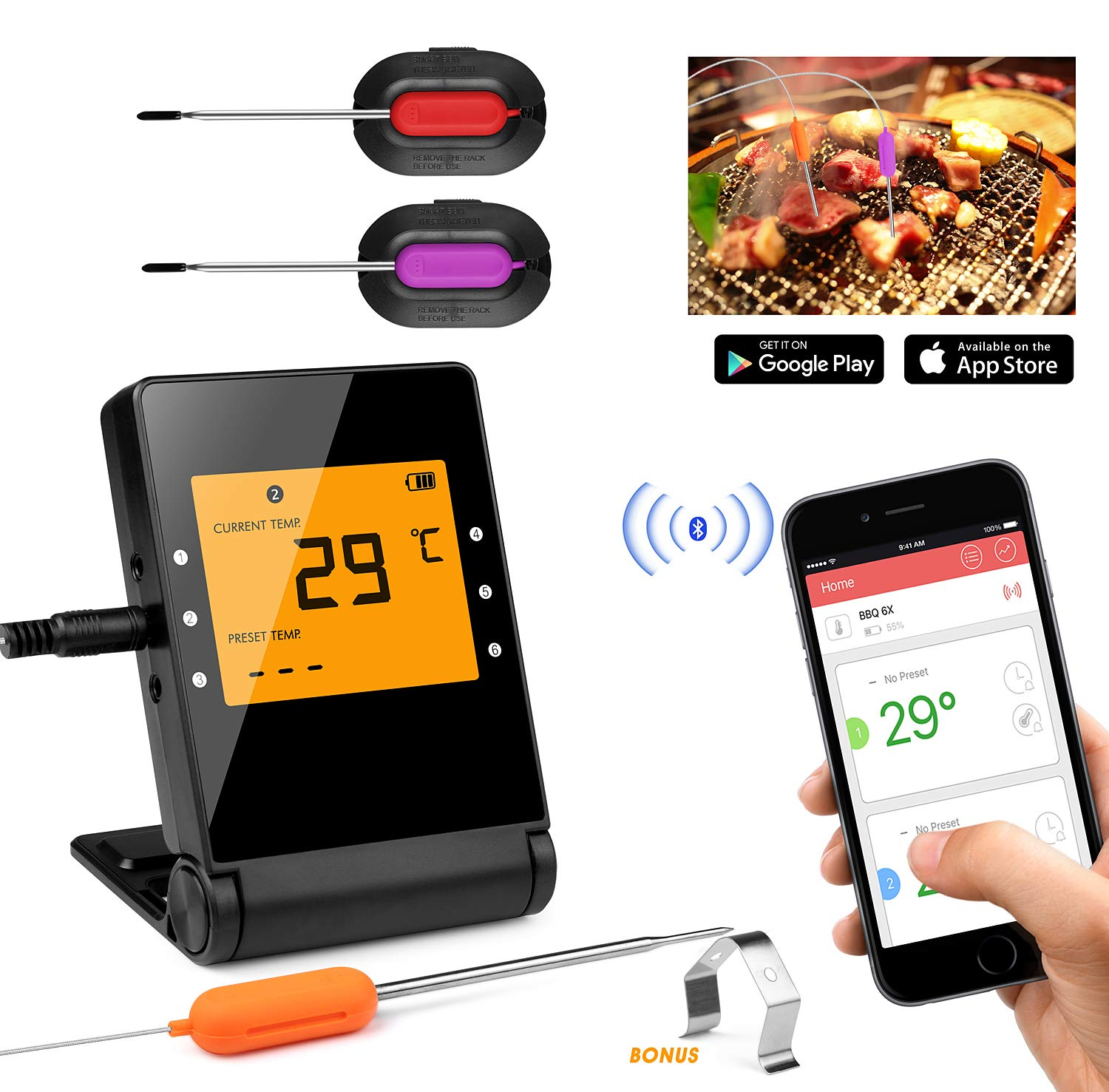 Shinmax Meat Thermometer, Wireless BBQ Thermometer,Bluetooth Smartphone Meat Thermometer with 2 Stainless Steel Probes Remote Monitor for Grilling, Cooking Kitchen Oven, for iOS & Android