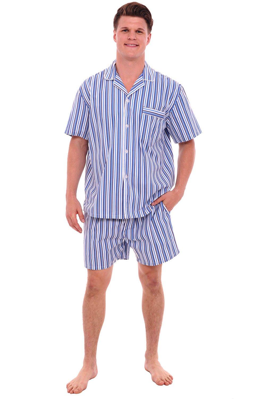 Alexander Del Rossa Mens Cotton Pajamas, Short Button-Down Woven Pj Set, Large Dark Blue and White Striped (A0697P19LG)