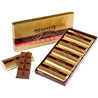 HERSHEY'S GOLDEN ALMOND Chocolate Bar, Roasted Almonds in Fine Milk Chocolate Candy Bar, Individually Wrapped Bars in Gift Box, 14 Ounce Box