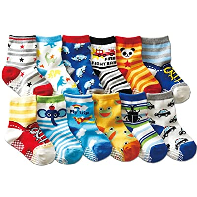 FANTASIEN 12 Pairs Anti-slip Assorted Kids Baby Socks with Anti-skid Particles Anti-skid Kids Socks Size Ages 1-3 Years 2t 3t Toddler cute animal : Baby